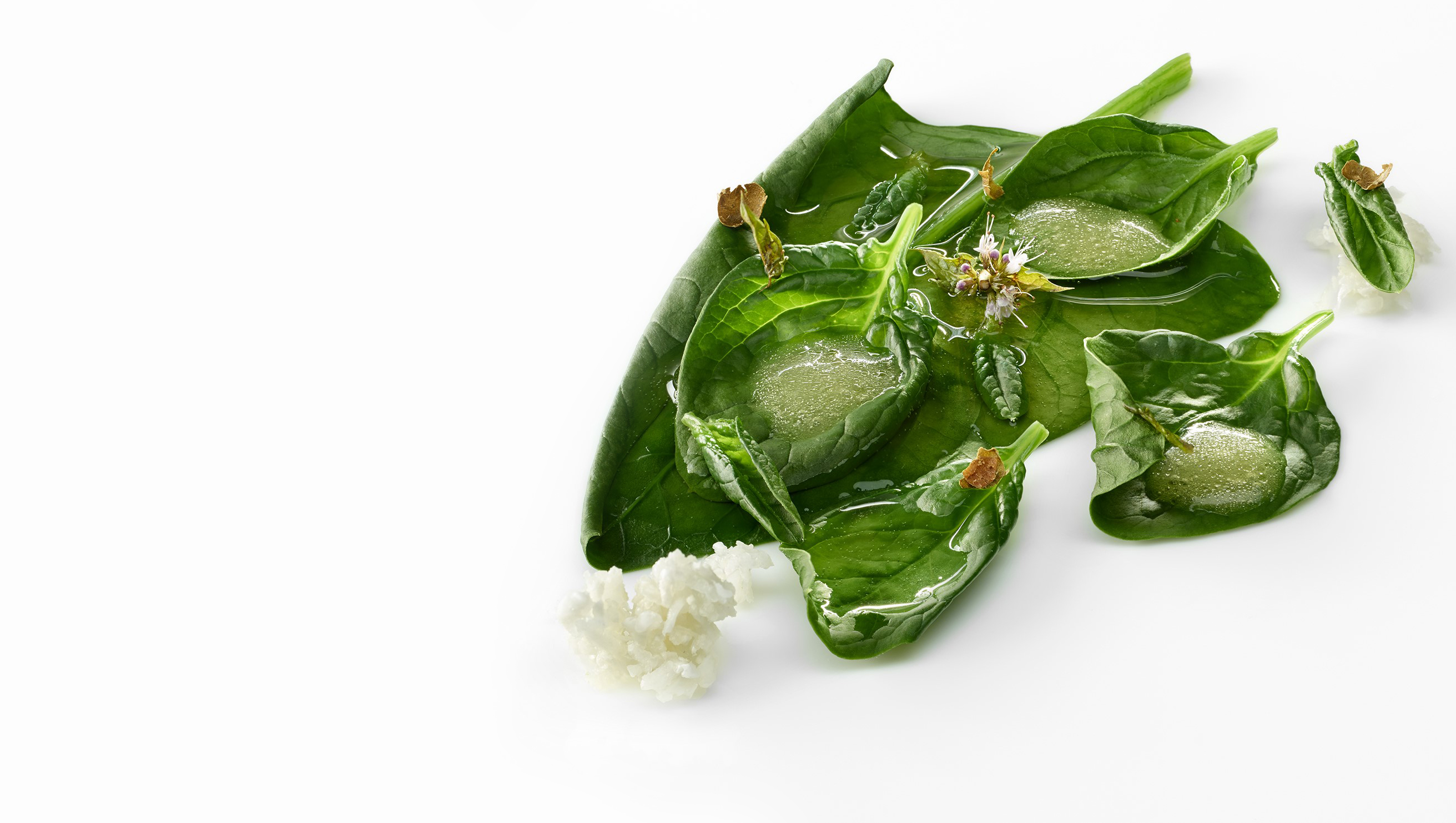 Espinacas guisadas, leche de almendra y aceite de oliva